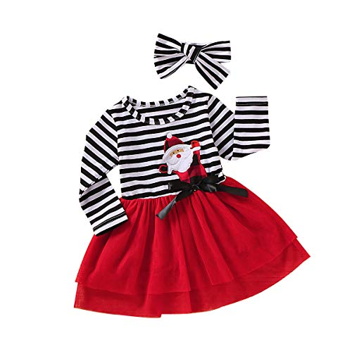 Baby Girls Christmas Outfits Tutu Skirt Suspender Dress My 1st Christmas Long Sleeve Floral Ruffle Strap Set