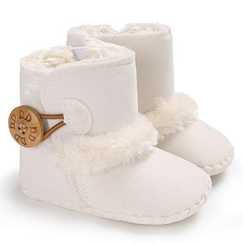 Fnnetiana Winter Warm Prewalker Infant Shoes Newborn Baby Soft Soled Non-Slip Crib Boots Toddler