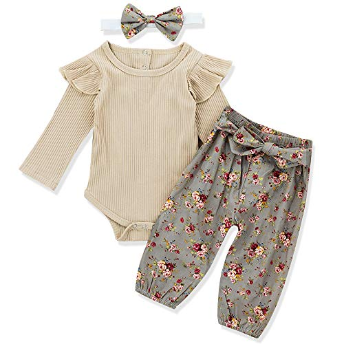Headband 3pcs Outfit Floral Pant Newborn Baby Girls Clothes Cute Girl Baby Ruffles Romper