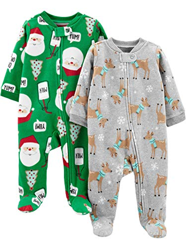 Simple Joys by Carters Baby Girls 2-Pack 2-Way Zip Fleece Footed Sleep and Play