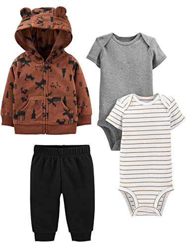 Pant Simple Joys by Carters 4-Piece Fleece Jacket and Bodysuit Set B/éb/é gar/çon