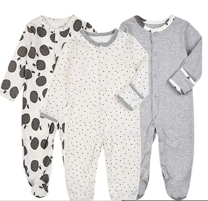 baby footed pajamas with mittens