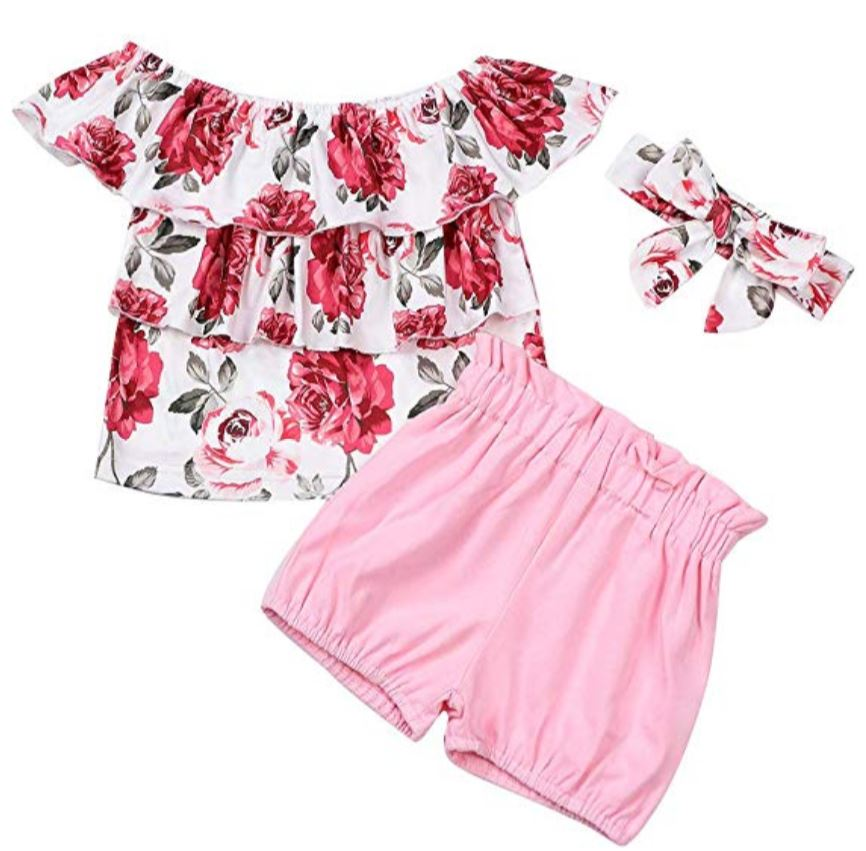 floral short set with headband