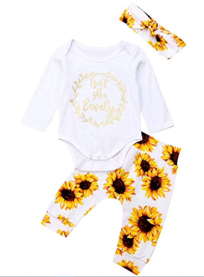 Isnt she lovely sunflower 3 piece outfit