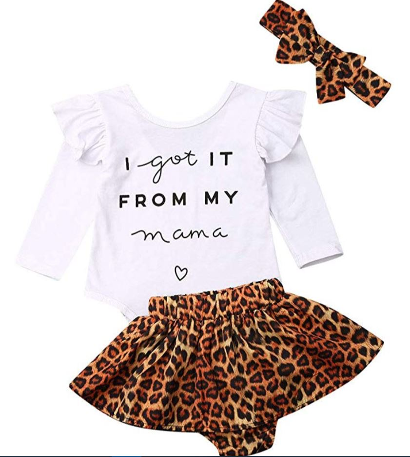 baby girls leopard 3 piece outfit