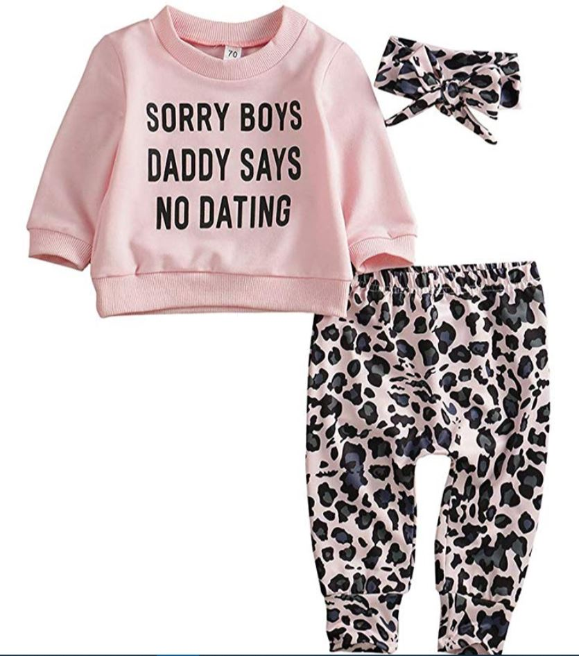 baby girl leopard 3 piece outfit