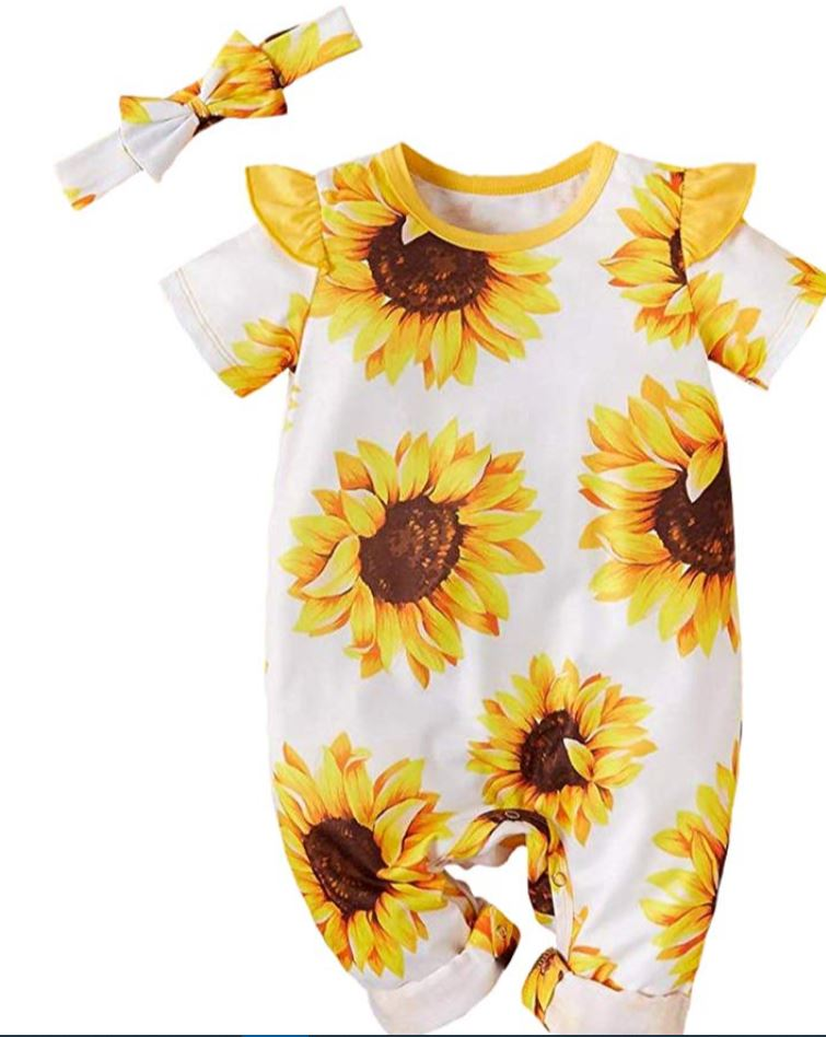 sunflower jumpsuit with headband