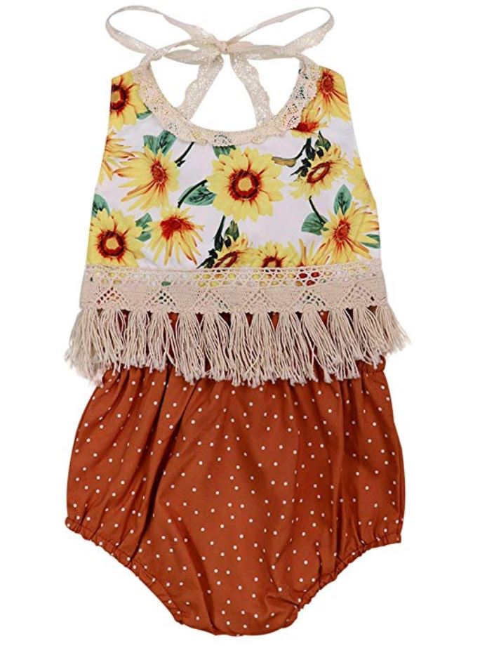 Sunflower Backless Tassel Top & Shorts Outfit