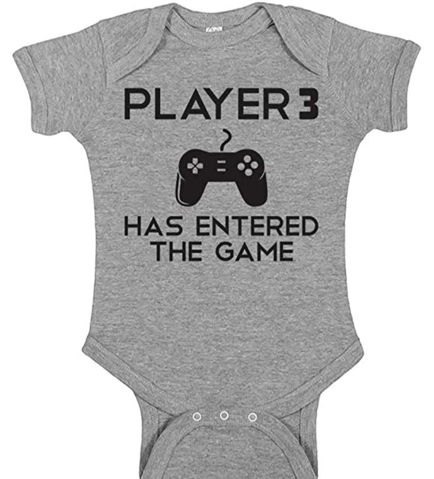 player 3 adorable onesie