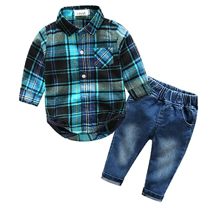 boys long sleeve button shirt and jeans